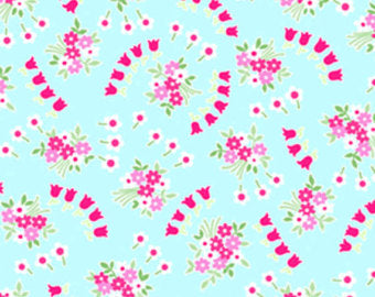 Pam Kitty cotton fabric by Lakehouse Dry  Goods  LH140011aqua