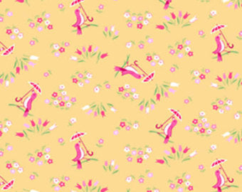 Pam Kitty cotton fabric by Lakehouse Dry  Goods  LH140018apricot