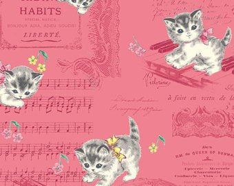Little World cotton fabric by Quilt Gate LW1904-17E Kittens on Red