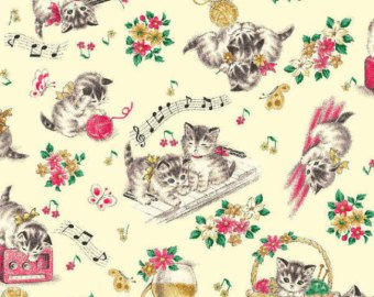 Little World cotton fabric by Quilt Gate LW1904-12A Kittens on cream