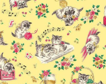 Little World cotton fabric by Quilt Gate LW1904-12D Kittens on Yellow