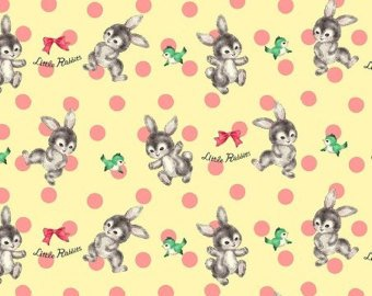 Little World cotton fabric by Quilt Gate LW1904-14C Bunnies on Pale Yellow