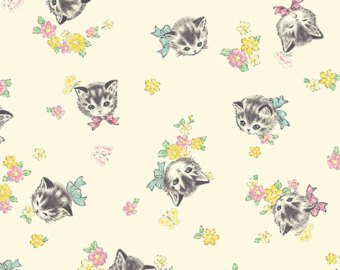 Little World cotton fabric by Quilt Gate LW1904-16A Retro Kitties on Cream