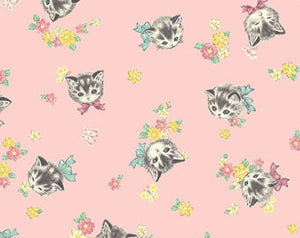Little World cotton fabric by Quilt Gate LW1904-16B Retro Kitties on Pink