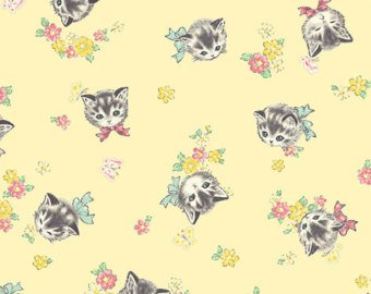 Little World cotton fabric by Quilt Gate LW1904-16D Retro Kitties on Yellow
