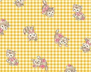 Little World cotton fabric by Quilt Gate LW1907-11C Kittens on Yellow Gingham