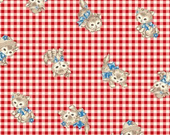 Little World cotton fabric by Quilt Gate LW1907-11E Kittens on Red Gingham