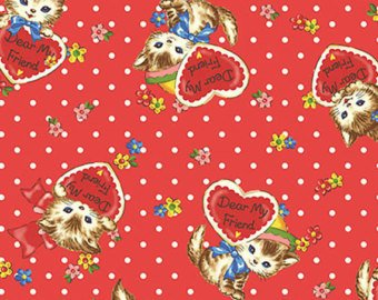 Little World cotton fabric by Quilt Gate LW1907-12F Kittens on Red