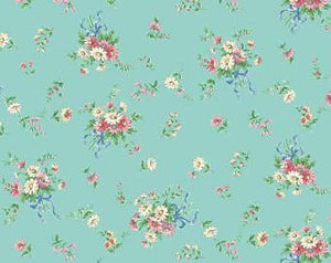 Little World cotton fabric by Quilt Gate LW1970-14D Flowers on Mint