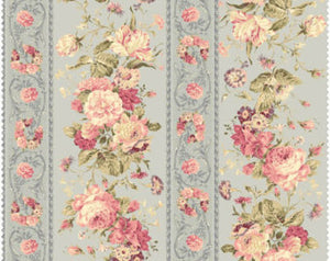 Mary Rose cotton fabric by Quilt Gate MR2140-12c  Floral Stripe Blue