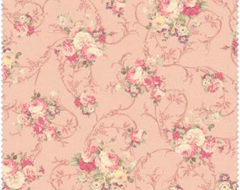 Grace cotton fabric by Quilt Gate MR2140-13B Roses on Peachy-Pink