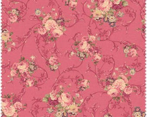 Grace cotton fabric by Quilt Gate MR2140-13d Roses on Red