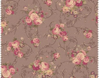 Grace cotton fabric by Quilt Gate MR2140-13F Roses on Brown