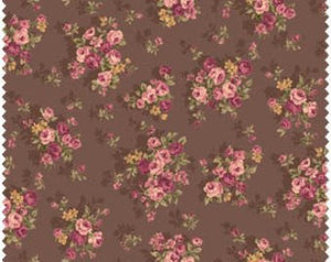 Grace cotton fabric by Quilt Gate MR2140-14F Bouquets on Brown