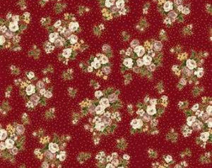 Grace Holiday cotton fabric by Quilt Gate MR2160-13B Small bouquets on Red