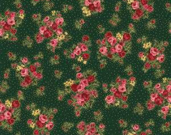 Grace Holiday cotton fabric by Quilt Gate MR2160-13C Small bouquets on Green