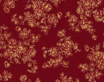Grace Holiday cotton fabric by Quilt Gate MR2160-14B  Roses on Red