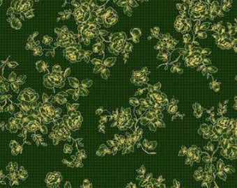 Grace Holiday cotton fabric by Quilt Gate MR2160-14c  Roses on Green