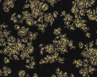Grace Holiday cotton fabric by Quilt Gate MR2160-14d  Roses on Black