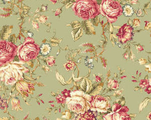 Amelia cotton fabric by Quilt Gate MR2170-11C Roses on Green