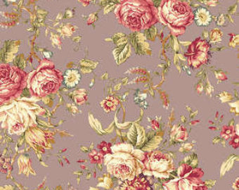 Amelia cotton fabric by Quilt Gate MR2170-11D Roses on Purple