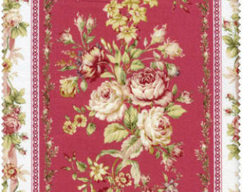 Amelia cotton fabric by Quilt Gate MR2170-12E Rose Stripe Red
