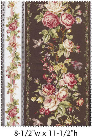 Amelia cotton fabric by Quilt Gate MR2170-12F Rose Stripe Brown