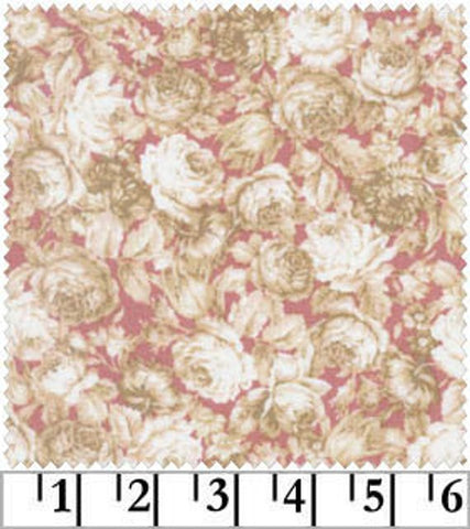 Amelia cotton fabric by Quilt Gate MR2170-14B Roses on Pink