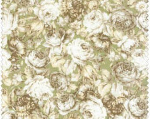 Amelia cotton fabric by Quilt Gate MR2170-14C White Roses on Green