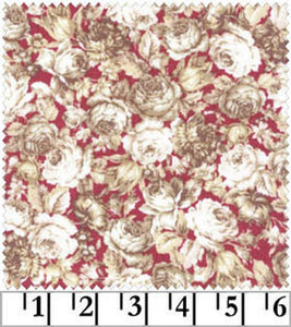 Amelia cotton fabric by Quilt Gate MR2170-14E Roses on Red