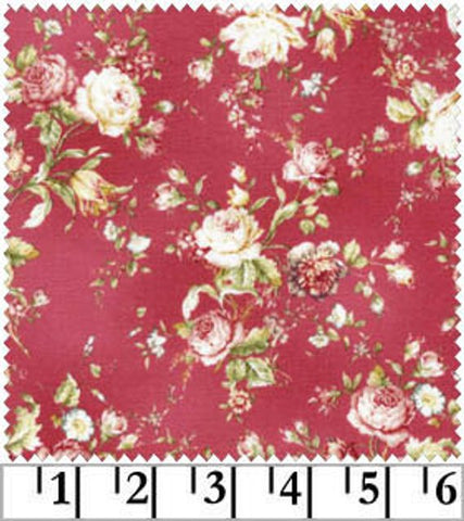 Amelia cotton fabric by Quilt Gate MR2170-15E Roses on Red