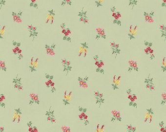 Julia cotton fabric by Quilt Gate MR2180-14C Small floral on Green
