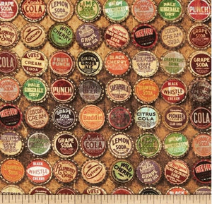 Eclectic Elements cotton fabric by Tim Holtz for Free Spirit PWTH024multi Bottle caps