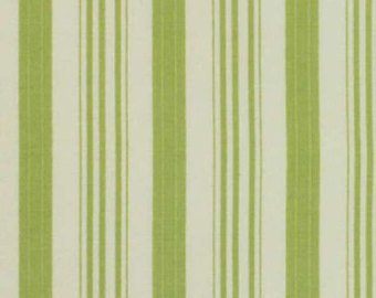 Barefoot Roses  Green Stripe cotton fabric by Tanya Whelan for Free Spirit PWTW052green