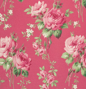 Barefoot Roses Roses Dark Pink cotton fabric by Tanya Whelan for Free Spirit PWTW054pink