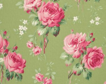 Barefoot Roses Roses Green cotton fabric by Tanya Whelan for Free Spirit PWTW054grn