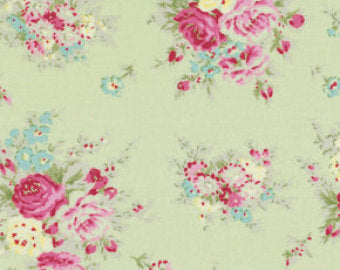 Rosey cotton fabric by Tanya Whelan for Free Spirit PWTW064green