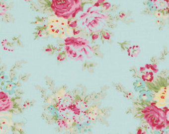 Rosey cotton fabric by Tanya Whelan for Free Spirit PWTW064teal
