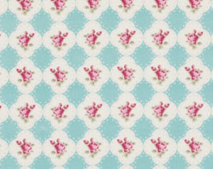 Rosey cotton fabric by Tanya Whelan for Free Spirit PWTW066teal