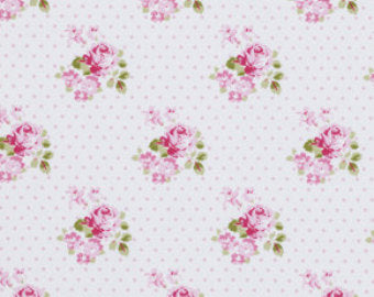 Sunshine Roses cotton fabric by Tanya Whelan for Free Spirit PWTW071pink Hanky Rose