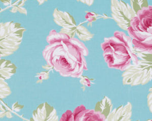 Sunshine Roses cotton fabric by Tanya Whelan for Free Spirit PWTW072blue Full Bloom Roses