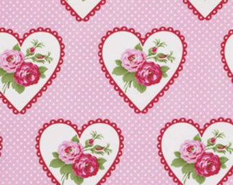 Valentine Roses cotton fabric by Tanya Whelan for Free Spirit PWTW082Pink