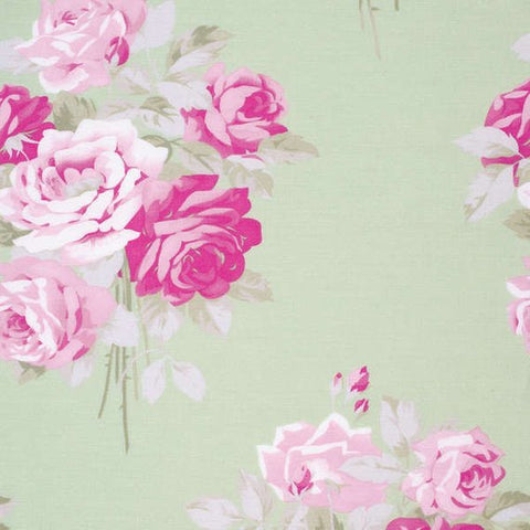 Slipper Roses cotton fabric by Tanya Whelan for Free Spirit PWTW084-green