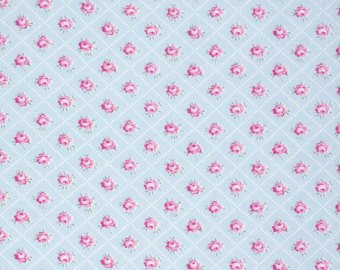 Slipper Roses cotton fabric by Tanya Whelan for Free Spirit PWTW086-blue