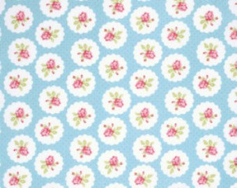 Lulu Roses  cotton fabric by Tanya Whelan for Free Spirit PWTW094sky Lottie