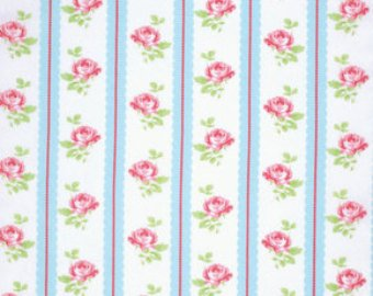 Lulu Roses  cotton fabric by Tanya Whelan for Free Spirit PWTW096sky stripe floral