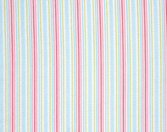 Lulu Roses  cotton fabric by Tanya Whelan for Free Spirit PWTW097sky stripe