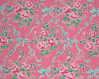 Ribbons and Roses cotton fabric by Verna Mosquerna and Free Spirit Fabrics PWVM069