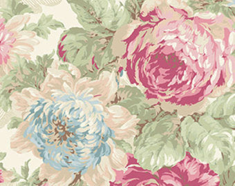 Ruru Roses cotton fabric by Quilt Gate Ru2200-11A Large Roses on Cream