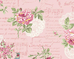 Ruru Roses cotton fabric by Quilt Gate Ru2200-14B Pink Music Roses